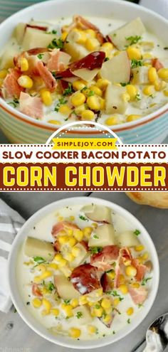 Your family will love this hearty comfort food in a bowl! Combined with bacon and potatoes, this creamy corn chowder is a crockpot meal you will want to make again and again. Enjoy this easy slow cooker recipe for dinner all Crocktober long! Slow Cooker Bacon, Crock Pot Slow Cooker, Slow Cooker Recipes, Crockpot, Bacon Potato Corn Chowder, Cream Corn Casserole, Bacon Cheese Dips, Creamy Corn, Corn Recipes