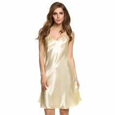 a4bf8f1ecef3f Avidlove Sexy Home Wear Sleep Dress Women Satin Sleepwear Nighties Sexy  V-Neck Nightgown Plus Size Lingerie Nightwear Peignoir