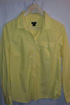 J.Crew Solid Yellow Women's Shirt 100% Cotton~Size Small #JCrew #ButtonDownShirt