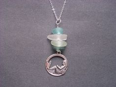 Sitting  on the Moon, Staring at the Stars!   must  have Seaglass mermaid necklace