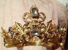 Help design your own--Custom Renaissance Tudor or fantasy royal full metal crown choice of colors and designs. $198.00, via Etsy. The pictured crown is spoken for but we can make something equally spectactular for you!Created by Karen Troeh for Courtly Charm