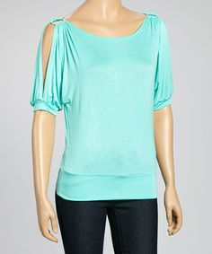 Look what I found on #zulily! Mint Cutout Top by J-MODE #zulilyfinds