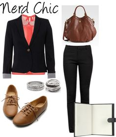 """Nerd Chic"" by bluepanther367 on Polyvore. Cute business attire."