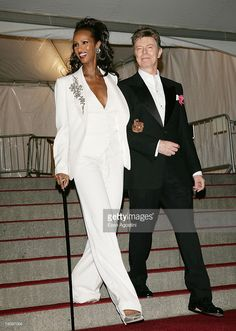 Iman and David Bowie leave The Metropolitan Museum of Art's Costume Institute Gala May 07, 2007 in New York City.