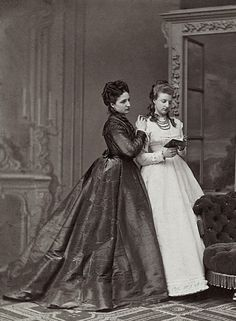 Archduchess Clotilde of Austria (left) and sister, Princess Amalie of Saxe Coburg and Gotha. Early 1870s.