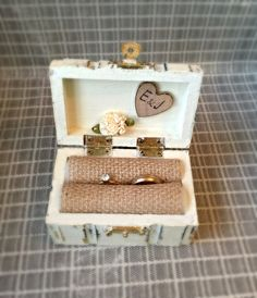 Wedding Ring Box Hand painted Rustic Primitive Antique white color distressed box with heart