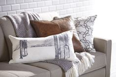 A national landmark and beloved icon of New York City, the Brooklyn Bridge makes a compelling image with its iconic arched towers. The bridge is beautifully rendered in black on the front of this soft Lumbar Pillow, Throw Pillows, Interior Decorating, Interior Design, Magazine Design, Living Spaces, Living Room, Decorative Pillows, Furniture Design