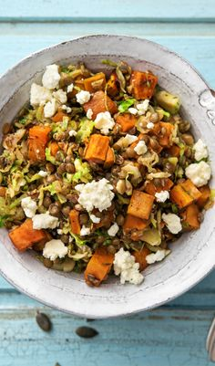 "Easy vegetarian recipe with honey roasted sweet potatoes, lentils, feta, and brussel sprouts. This is the perfect fall main or side dish for Thanksgiving. | Try HelloFresh today with code ""HelloPinterest"" and receive $25 off your first box."