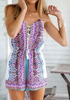 Purple Floral Print Condole Belt Short Jumpsuit