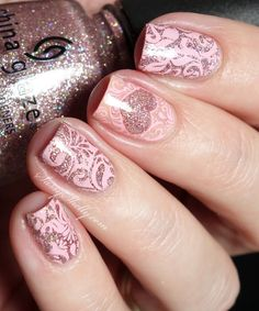 Valentine's Day Nail Art - Glitter Hearts and pink lace | Sassy Shelly