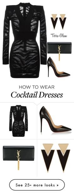 """""""She's Sharp"""" by terra-glam on Polyvore featuring Balmain, Christian Louboutin and Yves Saint Laurent"""