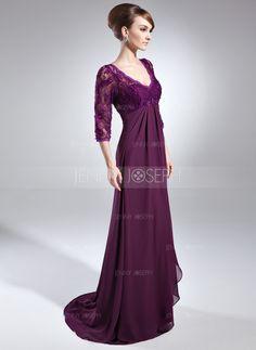 Empire-Linie V-Ausschnitt Pinsel Schleppe Chiffon Spitze Kleid für die Brautmutter mit Perlen verziert Pailletten