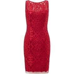 Aidan Mattox Embroidered Satin Sheath Dress, Ruby ($355) ❤ liked on Polyvore featuring dresses, midi cocktail dress, sheath cocktail dress, cocktail dresses, low back cocktail dress and short cocktail dresses