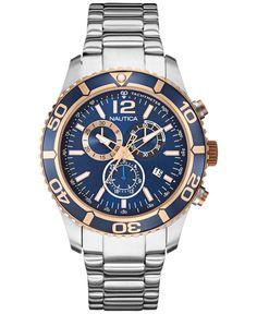 5c0be4cb591 Nautica Men s Chronograph Stainless Steel Bracelet Watch 43mm NAD18500G
