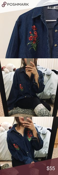 Embroidered Floral Chambray -Unique vintage chambray Vintage Tops