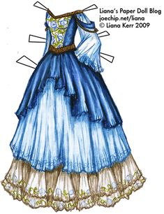 """Morning Glory Blue & White Princess Gown.... This paper doll dress DEFINITELY counts as elegant AND fun!  Haha literally """"fun""""!  :)"""