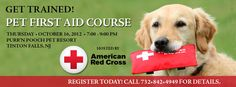 Just like with people, accidents and emergencies can happen to animals - so being prepared could make a lifesaving difference. Purr'n Pooch's staff is certified in Pet First Aid and now you can do the same. Join Purr'n Pooch Pet Resorts Thursday, Oct. 16th from 7-10PM in their Tinton Falls Training Hall for this great class presented in partnership with the American Red Cross.