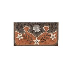 Desert Wildflower Ladies Tri-Fold Wallet Golden Tan