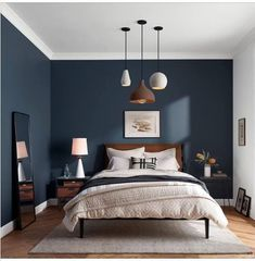 a beautiful classic bedroom design design classic bedroom .a beautiful classic bedroom design design classic bedroom beautiful a Walnut Residence with glass wall opens to the back yard - decoration ideasWalnut Residence with glass wall Dark Accent Walls, Dark Blue Walls, Accent Wall Bedroom, Blue Painted Walls, Bedroom Colors, Home Decor Bedroom, Bedroom Furniture, Living Room Decor, Bedroom Ideas