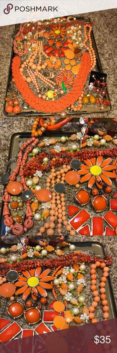 Lot of vintage/modern orange jewelry 11 nice necklaces, 9 pair of earrings-1 may be Bakelite, 5 brooches, 4 bracelets. All in good condition. Good for resell. Selling as a lot only please. This lot just screams 1971. Cannot be bundled due to weight Jewelry Brooches
