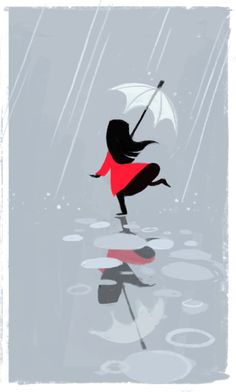 Raincoat boots and umbrella spring rain Rain Umbrella, Under My Umbrella, White Umbrella, Walking In The Rain, Singing In The Rain, Art Et Illustration, Illustrations, I Love Rain, Art Carte
