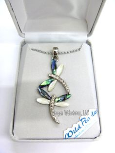 Dancing Dragonflies Abalone Necklace