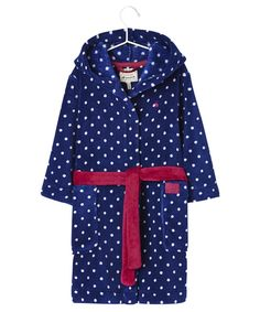 Joules Jnr Nutkin Girls Dressing Gown, ages 7-12yrs - Soft Blue Spot