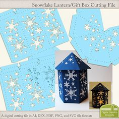 Digital cutting file to create a snowflake style lantern for a battery operated tea light.  Can also be used as a gift box.  SVG files included