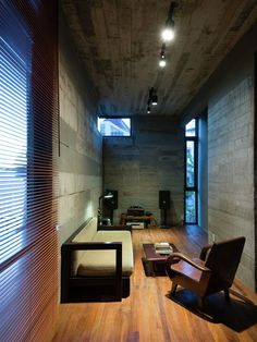 Modern house design with a complex shape – Chi House by G + Architects - Decoration 4 Modern House Design, Contemporary Design, Home Theater Lighting, Ho Chi Minh, Building Furniture, Piece A Vivre, Architecture Office, Home Cinemas, Entertainment Room