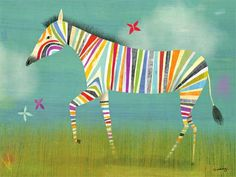 Rainbow Zebra Canvas Wall Art