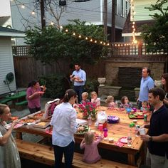 Huge outdoor table for having all the neighbors over! | Neighbor's Table
