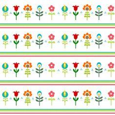 Retro Folk Flowers fabric by inspirationz on Spoonflower - custom fabric