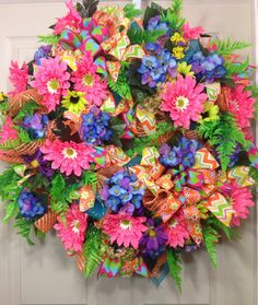 Spring / Summer Mesh Wreath on Etsy, $120.00
