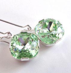 Light Green Crystal Earrings - Bridesmaid Jewelry - Chrysolite - Swarovski Crystal Dangle Drop Earrings - Bridal on Etsy, $42.00