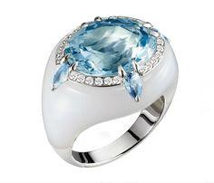 Aquamarine inlaid into chaceldony ring Bogh-Art