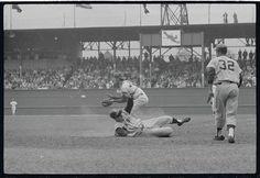 Roger Maris beats throw home to Tim McCarver during 1964 Yankees-Cardinal WS at Busch Stadium.#Yankees #STLCards #STLouis #MLB #NYC