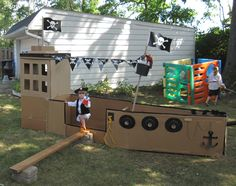 My ship completed August 26, 2012  Cardboard pirate ship for Princess and Pirate Party.  Princesses arrived at party only to out the pirate had stolen the treasure, they had to disguise themselves as pirates to get back the loot.
