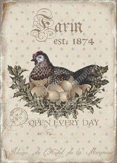 Vintage Labels, Vintage Cards, Vintage Images, Chicken Crafts, Chicken Art, Etiquette Vintage, Diy And Crafts, Paper Crafts, Rooster Art