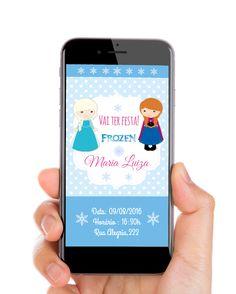Convite digital Tema Frozen Você pode enviar esse lindo convite direto do seu celular para seus convidados por qualquer aplicativo de mensagem (Whatsapp, Messenger). O convite é feito no tamanho padrão de tela de celular e por isso abrirá perfeitamente na tela. #frozen #convitefrozen #festafrozen #convitedigital #temafrozen