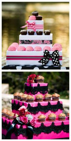 nice cupcake displays...love the pink snowballs & hostess cupcakes...even if just a decor item