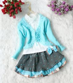 5,6,7t baby clothes 3pcs baby girl's summer fall spring dress girl toddler clothes BLUE  skirt. $28.99, via Etsy.