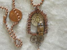 Copper ball chain, wire wrapped, midnight owl necklace