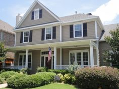 Awesome Exterior House Paint Ideas Featuring Gray Coloe Siding Wall And Gl Windows With Blinds