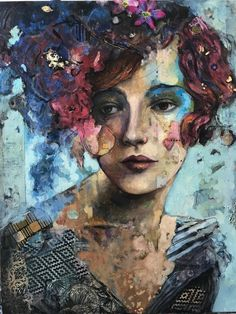 Original modern portrait woman with flowers Oil painting