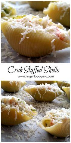 Indulge in fresh Crab stuffed pasta shells! I Love Food, Good Food, Yummy Food, Stuffed Pasta, Stuffed Shells, Crab Dishes, Pasta Dishes, Crab Recipes, Lobster Recipes