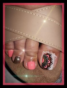 😍Mandala hecha con amor💅🏼❤💅🏼 Cute Toe Nails, Cute Toes, My Nails, Toe Nail Designs, Manicure And Pedicure, Nail Polish, Tattoos, Beauty, Nail Ideas