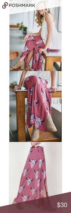 [Altar'd State] NWT Southwestern Maxi Skirt Adorable dusty rose colored bull print with skull and Floral pattern. Similar to Show Me Your Mumu but a fraction of the cost! Great for summer and festival season. Altar'd State Skirts Maxi