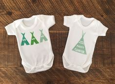 Happy Camper Gift Set -x2 100% Organic Cotton Bodysuits - Festival Baby Clothes - Camping Holiday Baby Gift - Organic Baby Clothes - Teepe by CraftsbyKatieL on Etsy