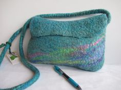 SALE Turquoise Felt Handbag  Lisa Frank by ZanieCraftsFeltedArt