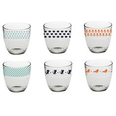 Decorative Glasses (set of 6) A special set of 6 beautifully decorated glasses by the creative genius that is Bandjo. Gorgeous for kids; just as lovely for yourself. £31.50